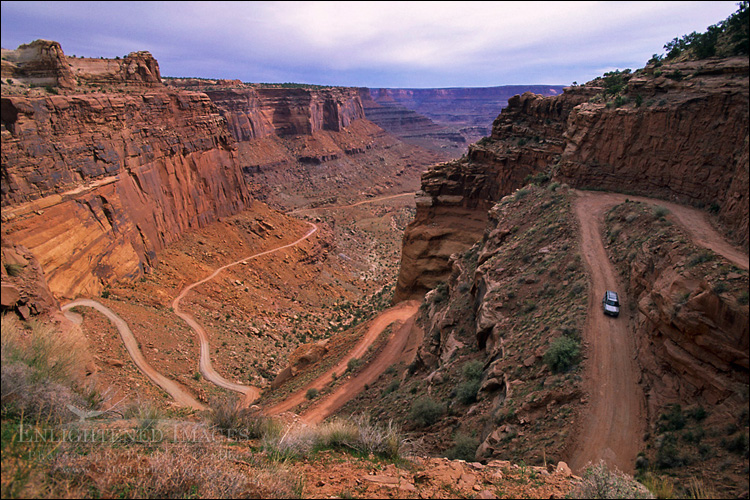 Image: Driving into Shafer Canyon, Island in the Sky District, Canyonlands National Park, Utah