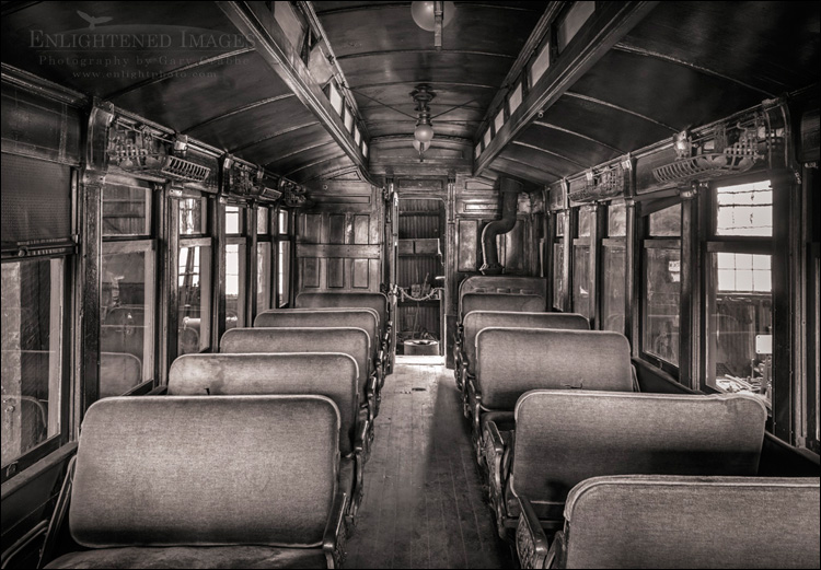 Image: Interior of a antique First-Class passenger railroad car, Railtown State Historic Park, Jamestown, California