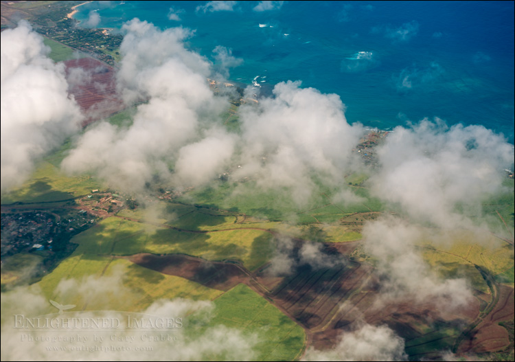 Image: Aerial view of clouds and sugar cane fields over south central Maui while on approach to Kahalui Airport, Maui, Hawaii