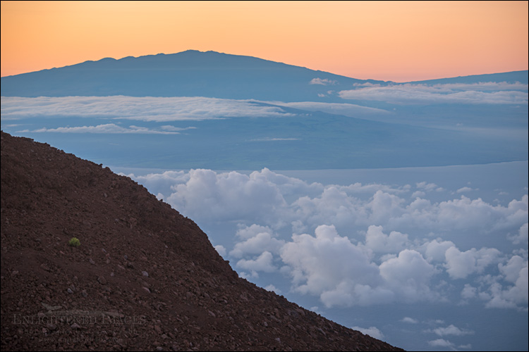 Image: The Big Island of Hawai'i as seen from the summit of Haleakala National Park, Maui, Hawaii