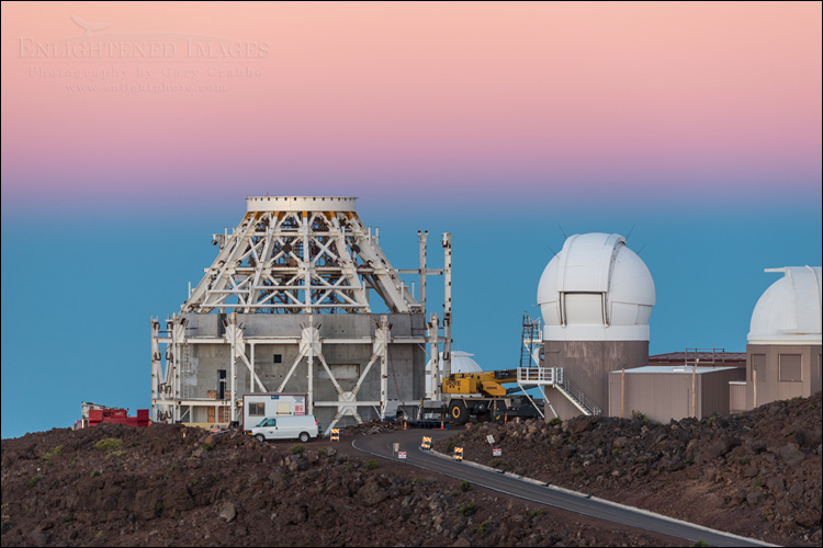 Image: Dawn over the observatory on the summit of Haleakala, Maui, Hawaii