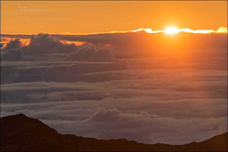 Image: Sunrise as seen from the summit of Haleakala National Park, Maui, Hawaii