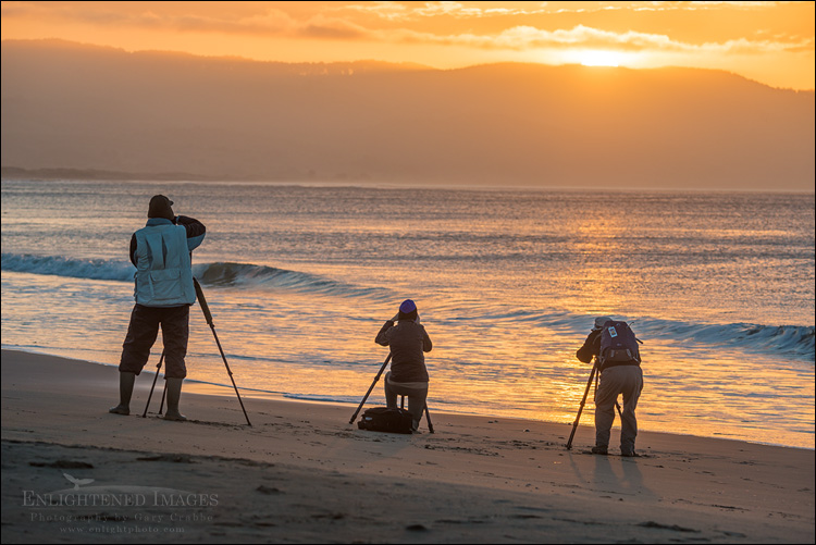 Image: Photographers shooting the sunrise at Drakes Beach, Point Reyes National Seashore, Marin County, California