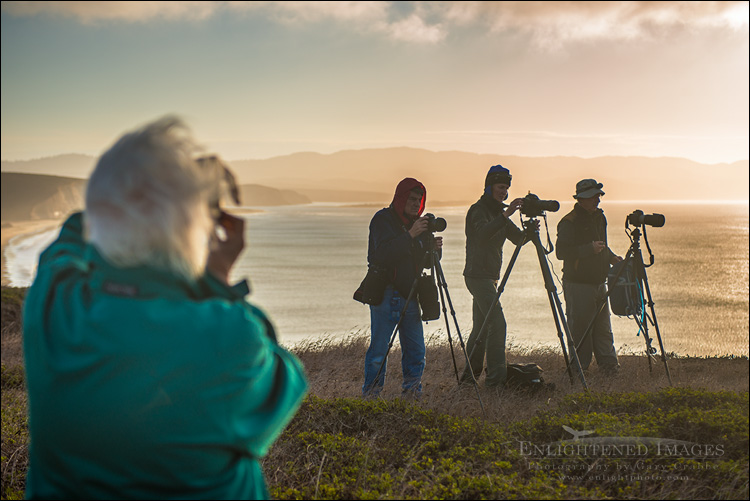 Image: Photography workshop participants shooting the sunset at the Point Reyes Headlands, Point Reyes National Seashore, Marin County, California