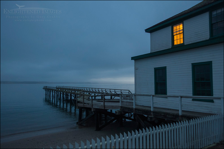 Image: First light on a foggy morning at the Historic Lifeboat Station on Drakes Bay, Point Reyes National Seashore, Marin County, California