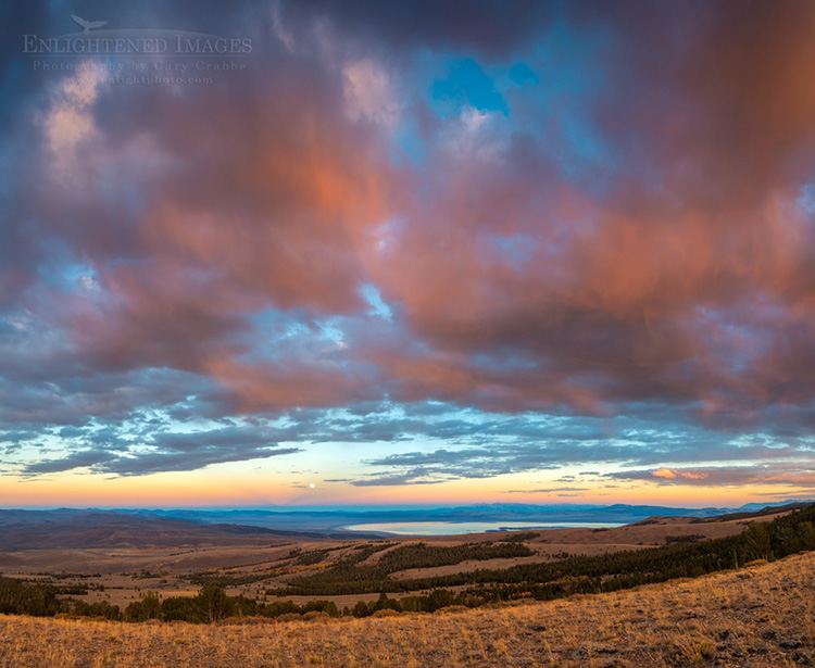 Image: Sunset light on clouds with full moon rising over Mono Lake from above Conway Summit, Mono County, Eastern Sierra, California