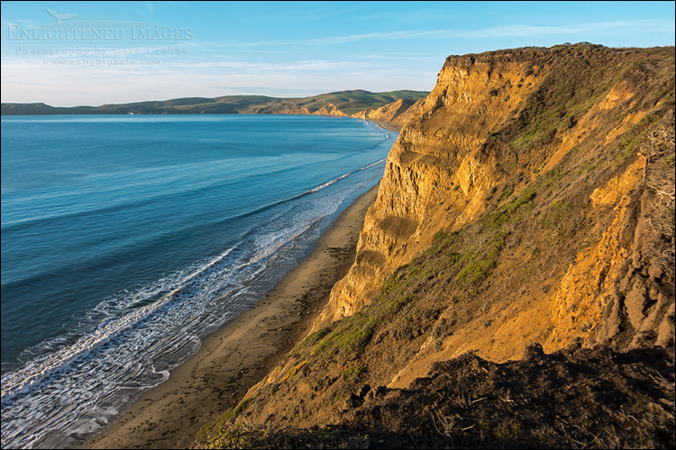 Looking out from the cliffs above Drakes Bay, Point Reyes National Seashore, Marin County, California