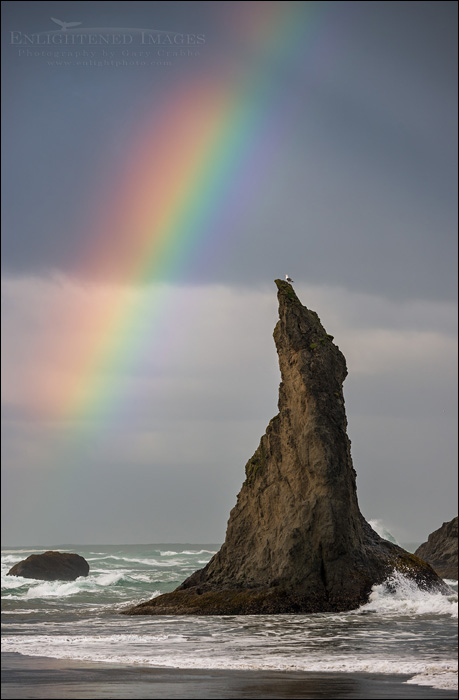 Image: Rainbow over sea stack, Bandon, Oregon