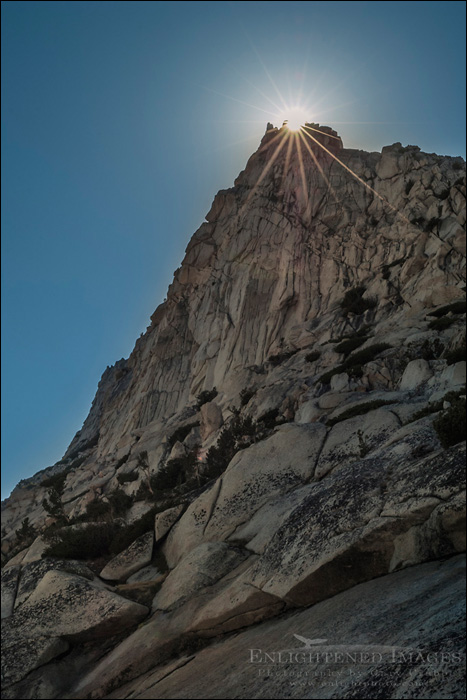 Image: Sunburst behind rocky spire near Vogelsang Pass, Cathedral Range, Yosemite National Park, California