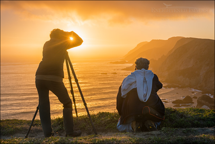 Image: Photographers shooting the sunset over the headlands at Point Reyes National Seashore, Marin County, California