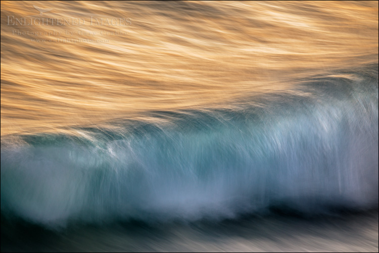 Image: Waves breaking at sunset along the Kailua-Kona shoreline, on the Big Island of Hawaii