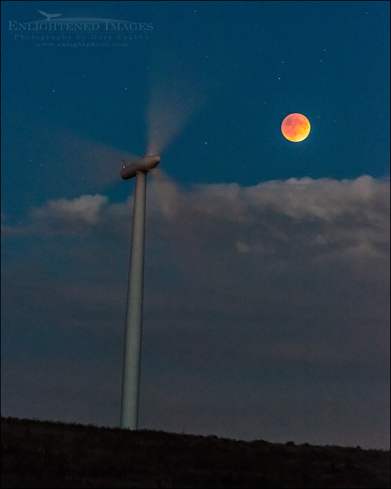 Image: Super-Blood-Harvest Moon during a Lunar Eclipse next to wind turbine, Solano County, California September 27, 2015