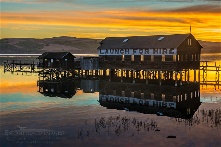 Image: Sunrise over boat launch building on Tomales Bay at Inverness, near Point Reyes, Marin County, California