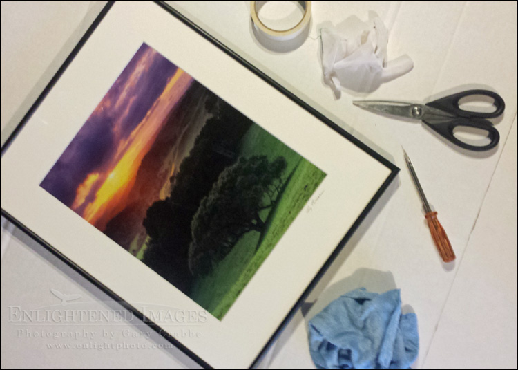 Image: Freshly framed fine art photographic print getting ready for shipment to a client