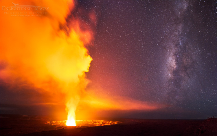 Image: Milky Way next to Volcanic steam rising out of Halemaumau Crater, Kilauea Caldera, Hawai'i Volcanoes National Park, Big Island, Hawaii