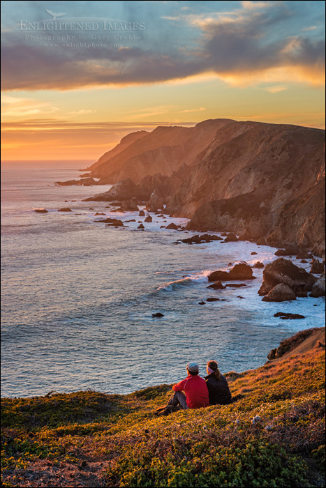 Image: Couple watching the sunset along the headland cliffs at Point Reyes National Seashore, Marin County, California
