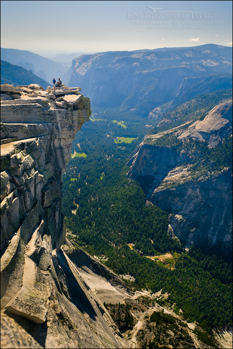 Image: Hikers on the Visor at the top of Half Dome looking over Yosemite Valley, Yosemite National Park, California