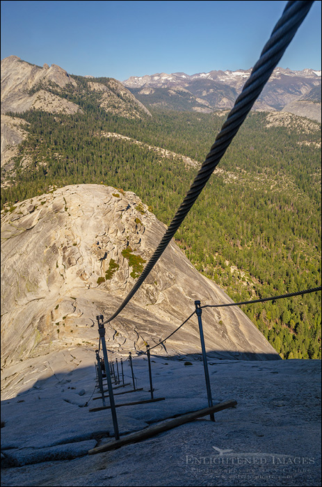 Image: Looking down over the Cables section from near the top of Half Dome, Yosemite National Park, California
