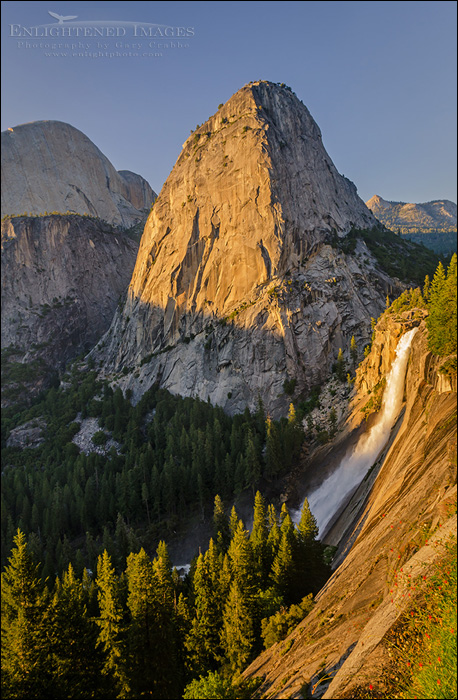 Image: Sunset light on Liberty Cap and Nevada Fall along the Grand Staircase of the Merced River, Yosemite National Park, California