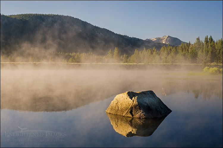 Image: Mist rising of unnamed lake in the Hope Valley, Alpine County, California