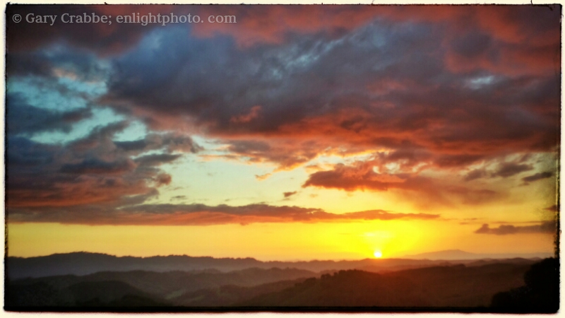 Image: Sunset over the East Bay Hills from Briones Regional Park, California<