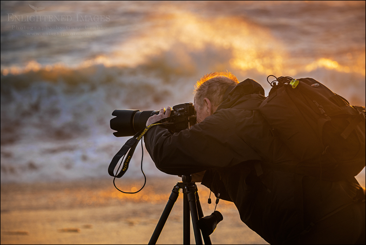 Image: SPhotographer shooting at sunset along the Great Beach, Point Reyes National Seashore, Marin County, California
