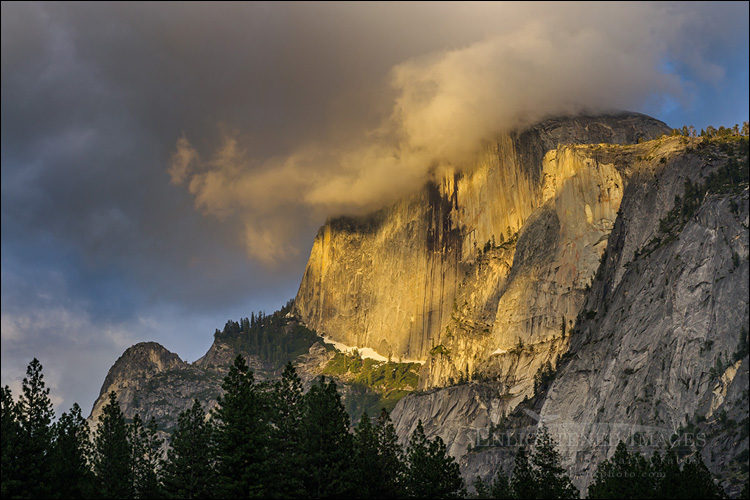 Image: Clouds on Half Dome at sunset from Yosemite Valley, Yosemite National Park, California