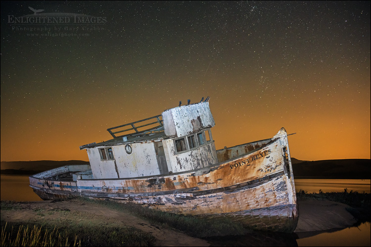 Image: Stars over the wreck of the Point Reyes, Inverness, Marin County, California