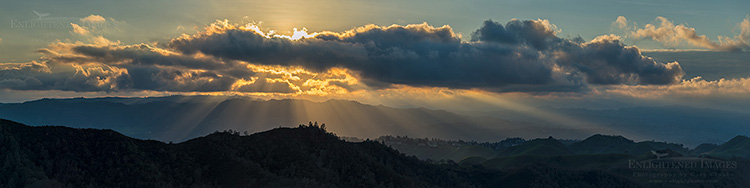 Image: A panoramic sunset spreads sunbeams out over the East Bay Hills as seen from Mount Diablo State Park, Contra Costa County, California