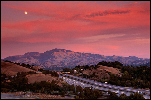 Picture Moon And Red Clouds Over Mount Diablo From