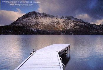 Stock photo image Fallen Leaf Lake and dock in winter.