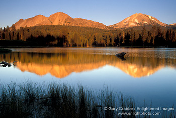 Photo Chaos Crags And Mount Lassen At Sunset Reflected In
