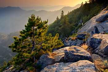 Sunset over hills, Sequoia National Park, California