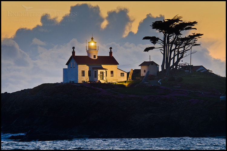 Image:  Storm clouds at sunset behind Battery Point Lighthouse, Crescent City, California - ID# 11052a_DLN-0187