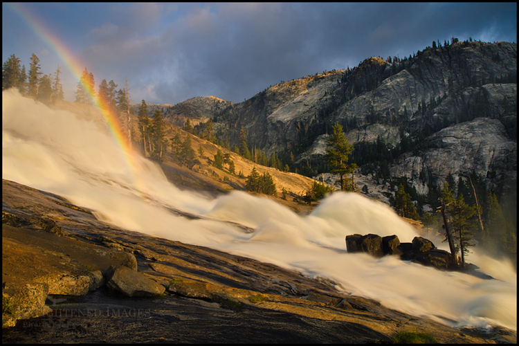Image:  Rainbow in Le Conte Falls at sunset, Tuolumne River Canyon, Yosemite National Park, California - ID# 110715b_YOS-0237