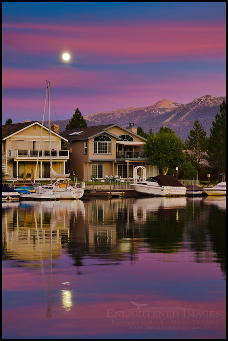 Image: Full moon rising at sunset over homes and boats in the Tahoe Keyes, South Lake Tahoe, California - ID# 110812_LTAS-0441