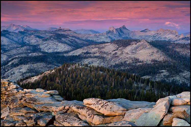 Image: Alpenglow on clouds above the Cathedral Range, from the summit of Clouds Rest, Yosemite National Park, California - ID# 111024b_YOScr-0134